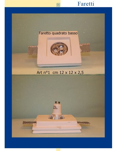 DOWNLIGHT PLASTER SQUARE LOW ART.1 MIS. cm.12X12x2.5
