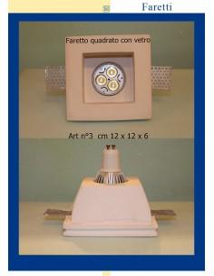 LED-EINBAULEUCHTE IN GIPS MIT GLAS-ART.3 cm.12x12x6