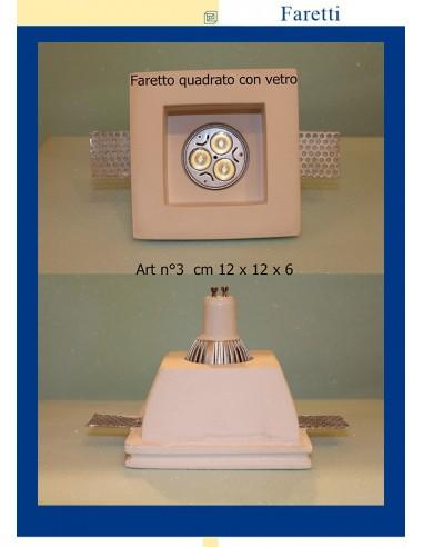 FARETTO IN GESSO CON VETRO ART.3 cm.12x12x6