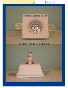 FARETTO QUADRATO IN GESSO A CONO ART.8 cm. 11,5 x 11,5 x5