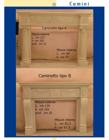FIREPLACE PLASTER CERAMIZZATO ART.L. cm.137 x h.102 x p.31