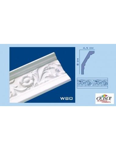 Cornice in polistirolo e polistirene estruso 80X45 h.200 ART.W80 confezione 10 mt ( 5 Aste)