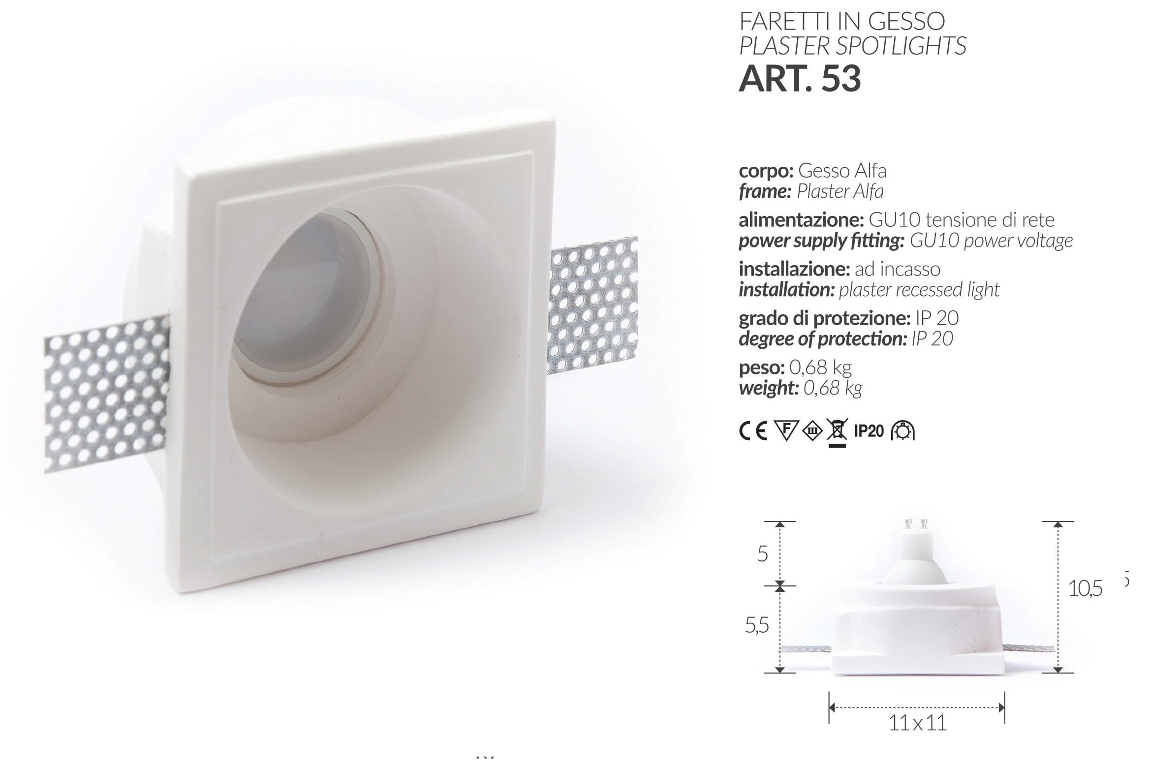 LED-EINBAULEUCHTE IN GIPS QUADRAT, UNTEN, ART.1 MIS. cm.12X12x2.5