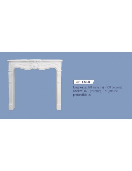 FIREPLACE PLASTER CERAMIZZATO ART.C L. cm.128 x h.115 x p.19,5
