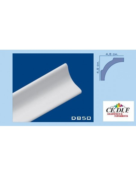 Cornice in polistirolo e polistirene estruso 48x48 h.200 ART.DB50 confezione 10 mt (5 Aste)